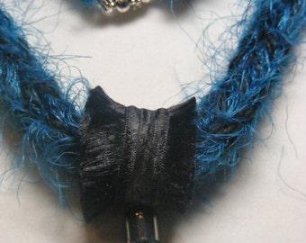 Knitted Fiber necklace and matching earring set. Focal fiber bead.