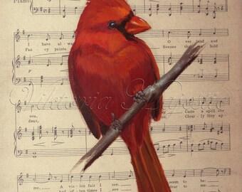 Custom Cardinal Painting on Sheet Music