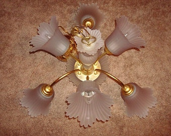 Frosted Glass Lavender Flower And Brass Hanging Chandelier Light (Sale Price)