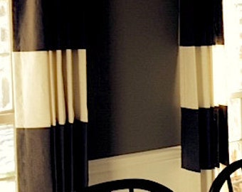 Custom Designer Linen Color Blocked Striped Pinch Pleated Panels
