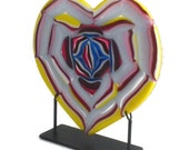 Rose Heart Fused Glass Art Sculpture Including Metal Stand FB603 Wedding Gift / Anniversary Gift / Valentine's Day Gift /
