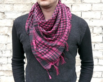 Plaid Scarf / Cotton Scarf / Men Scarf / Square Scarf / Summer Scarves / Gift For Boyfriend / Gift For Him