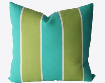 Decorative Outdoor Cabana Stripe, Turquoise, Aqua, Green, 18x18, 20x20, 22x22 or Lumbar Throw Pillow