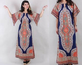 1970s DASHIKI DRESS | Vintage 70s Ethnic Cotton CAFTAN with Pointed Sleeves | s/m
