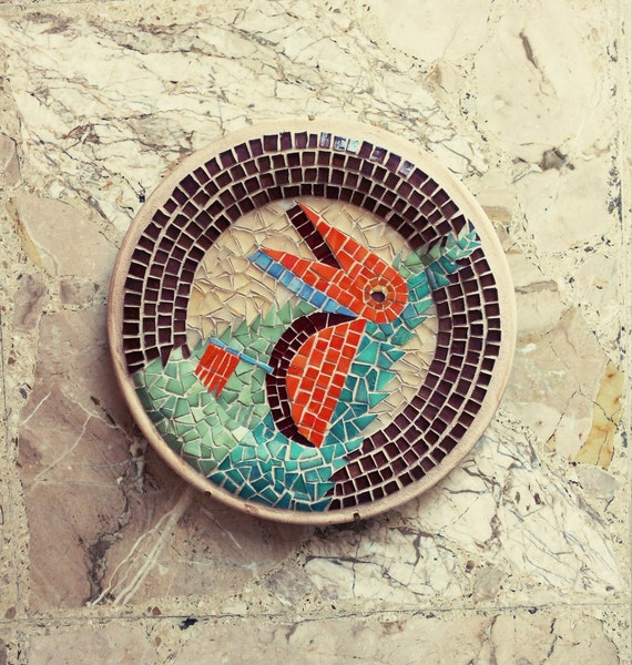 Red Mosaic Wall Decor : Items similar to plate mosaic wall art red