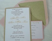 Blush Pink n Gold Glitter Wedding Invitation w white Linen n Sparkly Glitter Lined Envelope  -  Custom Any Color