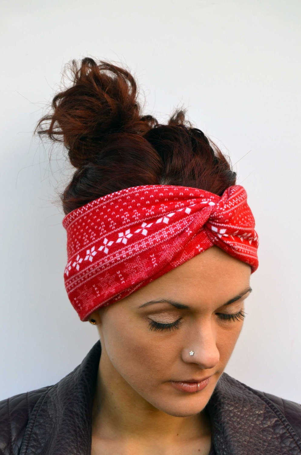 Nordic Headband Knitting Pattern : Nordic print ski headband turband twisted headband running