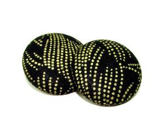 Medium Gold Fireworks Print Button Earrings