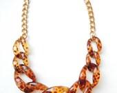Tortoise Statement Necklace chunky tortoiseshell necklace statement jewelry chain link COPACABANA