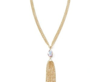 Gold Statement Necklace Swarovski Crystal long statement jewelry chain tassel SHAKE IT OFF
