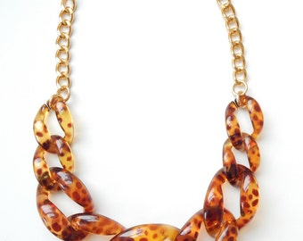 Tortoise Statement Necklace chunky tortoiseshell necklace statement jewelry chain link COPACABANA