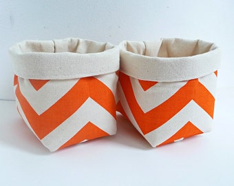 Chevron Canvas Fabric Basket Organizers in Premier Prints Mandarin Orange - Set of 2 Small Bins