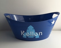 Personalized Rocket & Stars Tubs, Personalized gift baskets, Childrens gift baskets, Personalized party favors, toy storage bin, name bucket