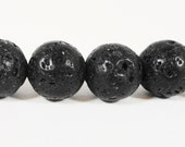 Lava Rock Gemstone Beads 8mm Round Matte Black Volcano Rock Stone Beads, Volcanic Rock Beads on a 7 1/4 Inch Strand with 23 Beads