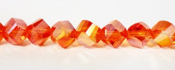 Helix Crystal Beads 6mm Orange AB Faceted Twisted Chinese Crystal Glass Beads for Jewelry Making on a 7 Inch Strand with 33 Beads