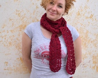 Merino scarflette, woman's crochet lace scarf, wine red long neckwarmer, infinity scarf