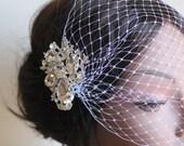Birdcage Veil, Bridal Blusher Veil, Russian Veil,  Bandeau Style, Rhinestone Crystals, Bridal Headband, Swarovski Crystals, Wedding Piece