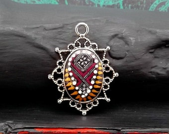 Ebony Bronze Marsala Boho Tribal Polymer Cab Pendant - Antique Silver Oval Pendant - Handmade Mixed Media Pendant - Pkg. 1
