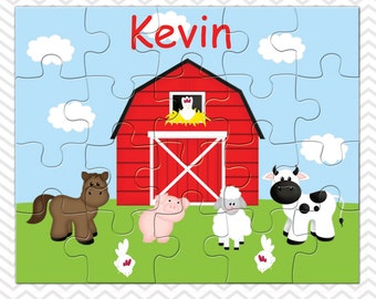 Barn Yard Red Personalized Puzzle, Personalized Farm Puzzle, Personalized Kids Puzzle