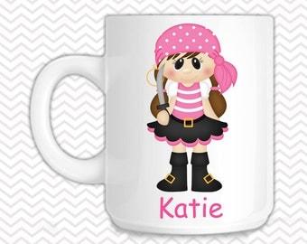 Pirate Girl Kids Mug - Personalized Pirate Mug - Customized Mug - Melamine Cup - Personalized Kids cup
