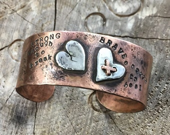Brave Girl Bracelet Cuff Strong Enough to Break Brave Enough to Heal Wide Copper Bracelet by ShesSoWitte