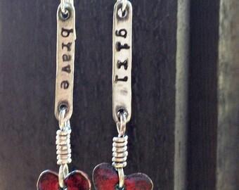 Brave Girl Sterling Silver Enamel Heart Earrings by ShesSoWitte