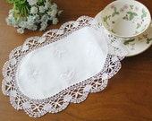 Cozymom Handmade White Wedding Placemat Table Doily Runner,Embroidery&Lace Linen 29x20cm