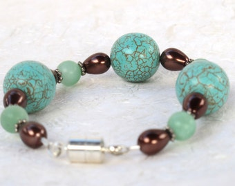 Turquoise, Amazonite and Glass Pearl Bracelet