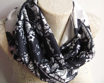 Black and White Satin Scarf ,Floral Scarf , Satin İnfinity Scarf