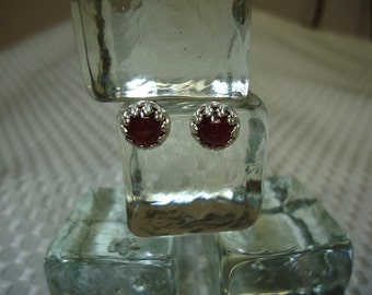 Round Cabochon Ruby Earrings in Sterling Silver  #1353