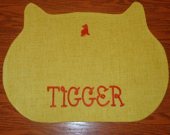 "Cat Placemat - Personalized Cat Placemat - ""Free Shipping"" -  Embroidered Name - Handmade"
