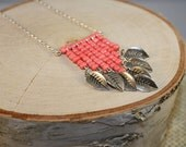 Coral Chevron Necklace with Silver Leaves