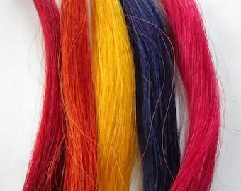 1 oz  Dyed HORSE HAIR BUNDLE Crafts Pow Wow  Regalia Rainbow Choice of Colors
