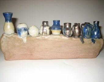 Hand Made Hanukkah Pottery Menorah
