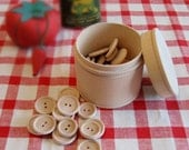32 Wood Craft Buttons and Wood Lidded Cup - Unfinished Wood Box and Buttons - 32 Unfinished Round Wood 4 Hole Buttons