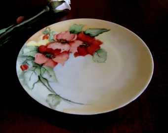 Hand Painted Bavarian Decorative Plate - Thomas Sevres Bavaria Bread or Dessert Plate - Antique Collector Plate