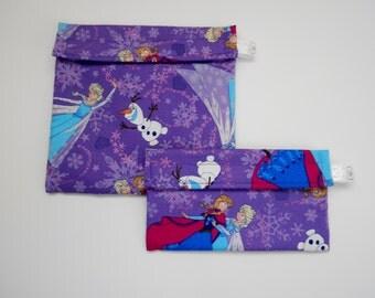 Frozen Anna Elsa Olaf Reusable Snack and Sandwich bag set