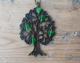 Squirrel Tree Necklace - Woodland - Glass and Metal
