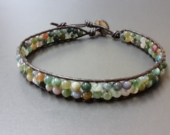 double Jasper  Leather  Anklet