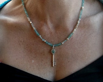 Apatite and Sterling Silver Necklace with Sterling Silver Apatite and Diamond Pendent