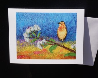 Yellow bird.Spring.Braight mixed-media print card/picture. Double greeting card/envelope 5x7 Copy of my own painting.