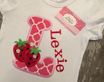 Strawberry Alphabet Shirt A-Z Appliqued Shirt