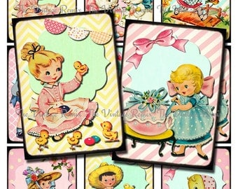 Easter Printable, Instant Download, Retro-Vintage Digital Collage Sheet for scrapbooking, card making, hang tags and more. atc aceo