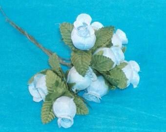Fabric Flower Rosebuds - Light Blue Rosebuds - Total 9 Roses - DESTASH