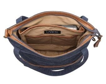 Canvas tote bag LARYS internal lining - laptop compartment - 8 pockets