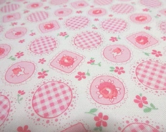 Japanese Fabric LECIEN Retro 30' Flower Rose Ivory FQ