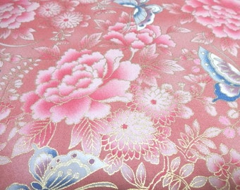 Japanese Traditional Fabric QUILT GATE Flower Batterflyr Pink FQ