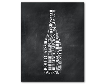 Wine Bottle Typography Wall Art Print - Wine Names Kitchen Wall Art - WIne Cellar Art kitchen decor - happy hour print - dining room art