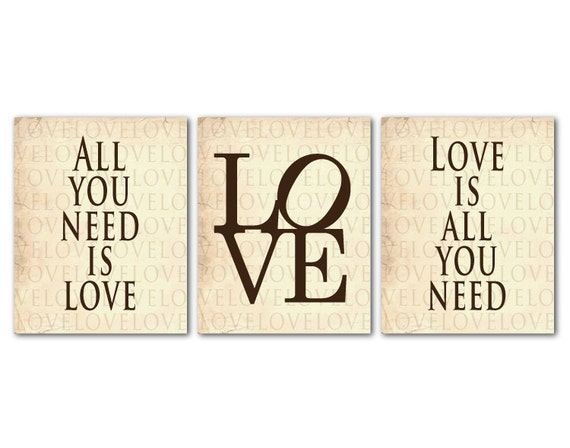 Wall Decor All You Need Is Love : Modern wall art trio all you need is love set of