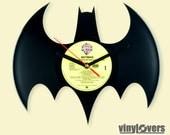 BATMAN gift handmade unique wall clock from used vinyl record black yellow